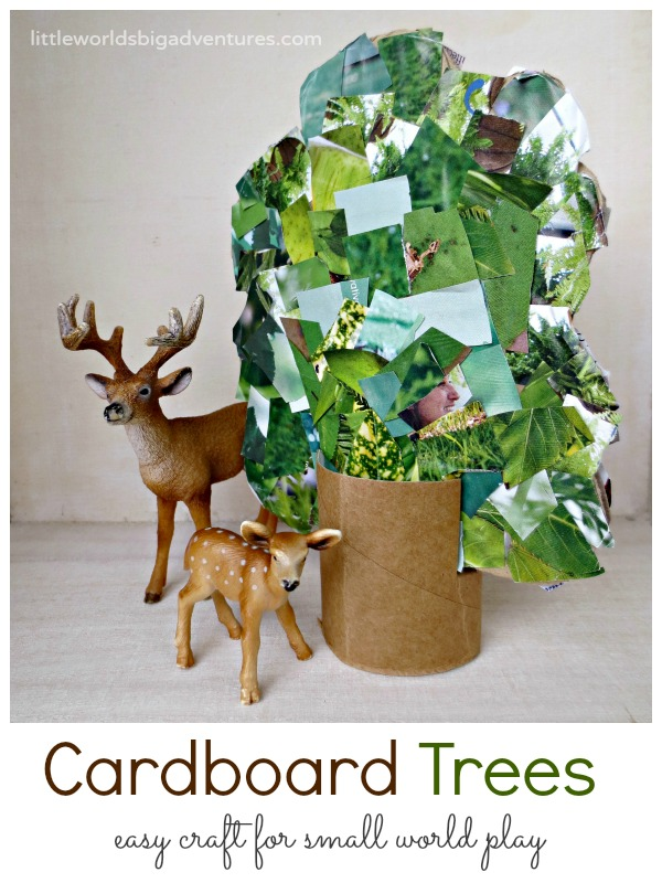 Easy Cardboard Trees Craft for Small World Play