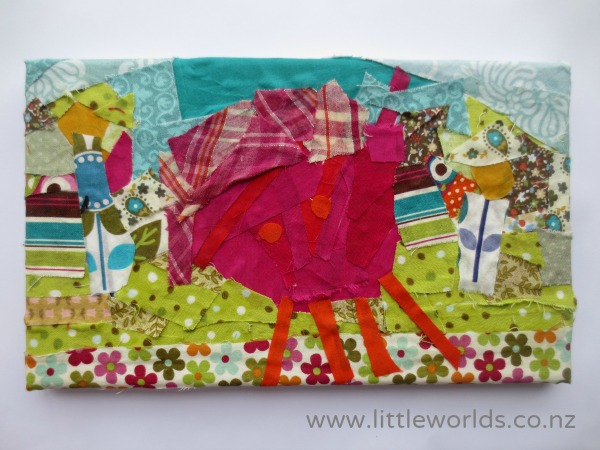 Turning Drawings into Fabric Scrap Wall Art