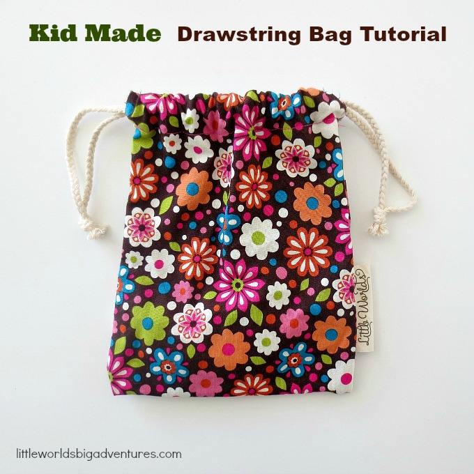 Drawstring Bag Tutorial for kids - Little Worlds 46d2a228a48bd