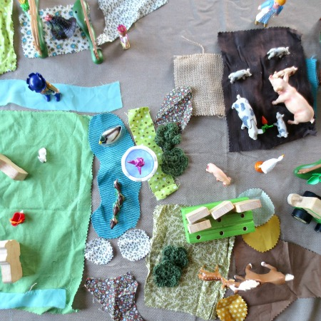 How to Set up a Farm Small World with Fabric Scraps