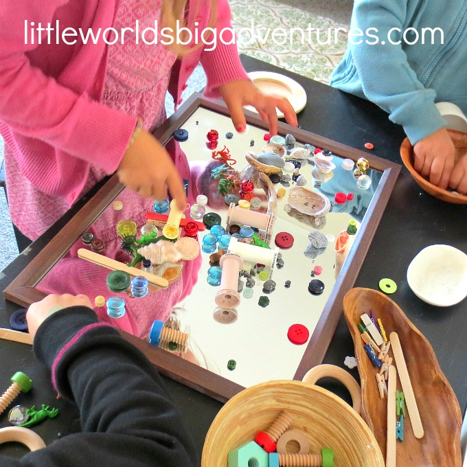 Invitation to Explore Loose Parts on a Mirror