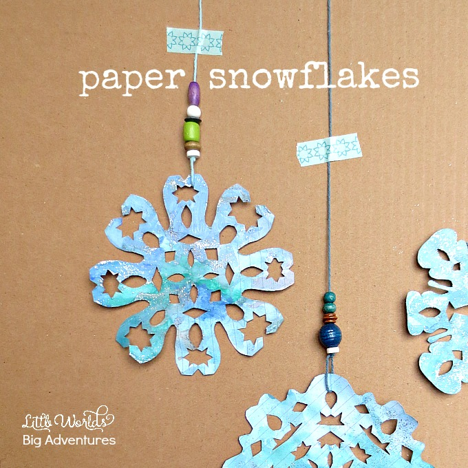 Making Paper Snowflakes A Kid Made Winter Craft  sc 1 st  Little Worlds Big Adventures : snowflake paper plates - pezcame.com