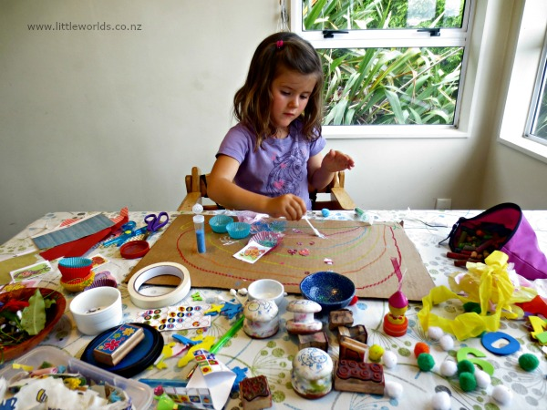 Image Playing with Loose Parts at Home: collage making
