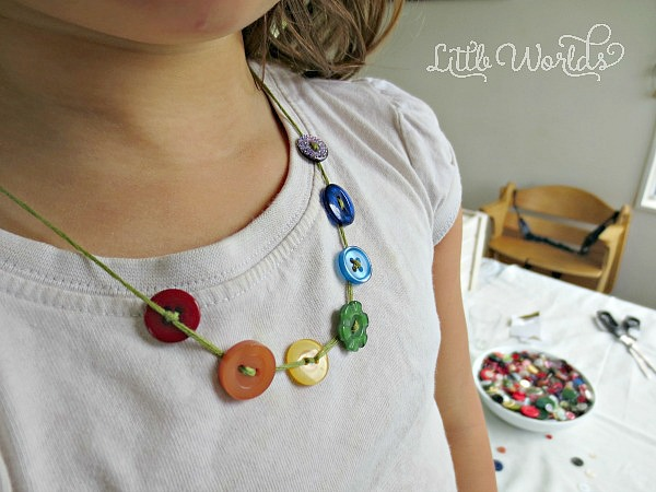 Sweet and Simple Rainbow Necklace Button Craft
