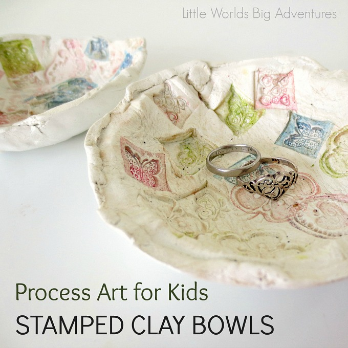Stamped Clay Bowls, a Process Art Activity for Kids